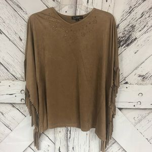 Sweaters - Poncho   brown suede with fringe